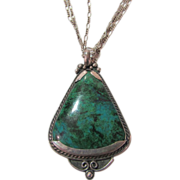 Sterling Silver Turquoise Pendant on a Sterling Three  Strand Chain
