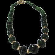 Artisan Natural Emerald Enhanced with 14 Karat Clasp and Beads Necklace