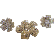 Vintage Landau Designer Pin and Earrings With Invisible Set Clear Swarovski Crystals