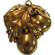 Vintage Joseff of Hollywood Russian Gold Massive Pin or Pendant of Pears with Magnificent ...
