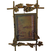 Vintage Mini Nouveau Brass Easel With Scenic Print French Origin