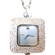 """Seiko Watch Necklace in Silvertone on a 30"""" Chain"""