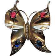 Sterling Silver Crown Trifari Butterfly Pin with Gold Wash and Rhinestone Enhancements