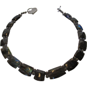 Artisan Blue Tone Labradorite Segment Necklace with Sterling Silver Heart Toggle Clasp