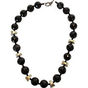 O.O.A.K. Artisan Onyx Necklace with Sterling and Diamond Clasp