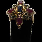 10 Karat Yellow Gold Ruby Sapphire and Emerald Ring