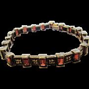 Sterling Silver Garnet Marcasite Bracelet
