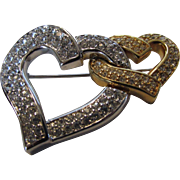 Swarovski Hearts Entwined Pin in Silver and Goldtone With Clear Pave Stones
