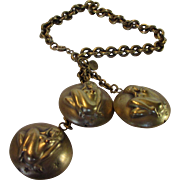 Joseff Russian Goldtone Bracelet of Virgo Nude Three Charms Part of Signs of the Zodiac Series