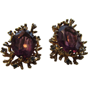 Vintage Panetta Clip Earrings With Faux Amethysts in Goldtone Naturalistic Setting