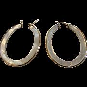 14 Karat Yellow Gold Mother of Pearl Hoop Earrings