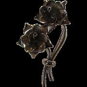 Vintage Silvertone 1940's Floral Pin