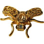 Vintage Swarovski Fabulous Fly Pin With Crystal Body and Black Enameling