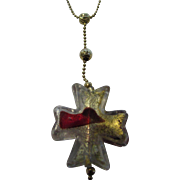 14 Karat Yellow Gold Necklace Supporting a Murano Glass Cross