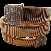 Vintage Rose Goldtone Snake Bracelet With Crystal Accents