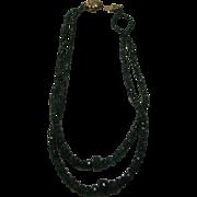 Artisan Emerald Beads Necklace on a 14 Karat Yellow Gold Clap