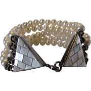 Sterling Silver Freshwater Pearl Bracelet Enhanced with Mother of Pearl