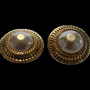 Chanel Goldtone Faux Pearl Earrings
