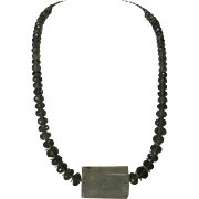 Artisan O..O.A.K. Aquamarine and Jadite Necklace with Sterling Silver Findings and Clasp