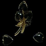 Vintage Vendome Bold Black Glass Pin and Earring Set