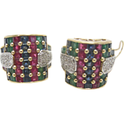 14K Bold Hoop Earrings  with Rubies, Sapphires, Emeralds and Diamonds OH MY!
