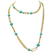 Vintage Miriam Haskell Chain with Glass Jade Color Beads