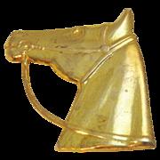 Vintage Miriam Haskell Horse Head Pin in Goldtone