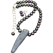 Kyanite Pendant and Cultured Freshwater Peacock Pearls Necklace and Earrings Set