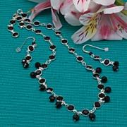 SALE Jet Swarovski Crystal Cuplink Necklace and Earrings Set