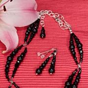 Jet Black Swarovski Necklace and Earrings Set in Sterling Silver