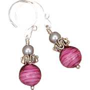 Hot Pink and Silver Earrings