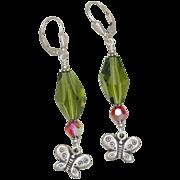 SALE It's Butterfly Time! Swarovski Earrings in Sterling Silver