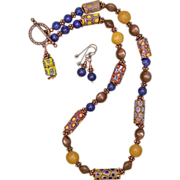 Millefiori Trade Bead Necklace and Earrings