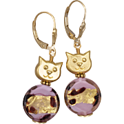 SALE Pink and Golden Cat Lovers Earrings