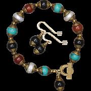 Multi Gemstone Tibetan Bead Bracelet and Earrings Set