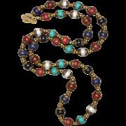 SALE Multi-Gemstone Tibetan Hand Made Bead Long Necklace