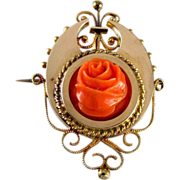 Rose gold Victorian coral rose pin brooch pendant