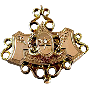 Antique mid Victorian 14k rose gold 5 hook chatelaine brooch pin pendant necklace