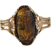 Rose gold Victorian tiger eye quartz cameo ring