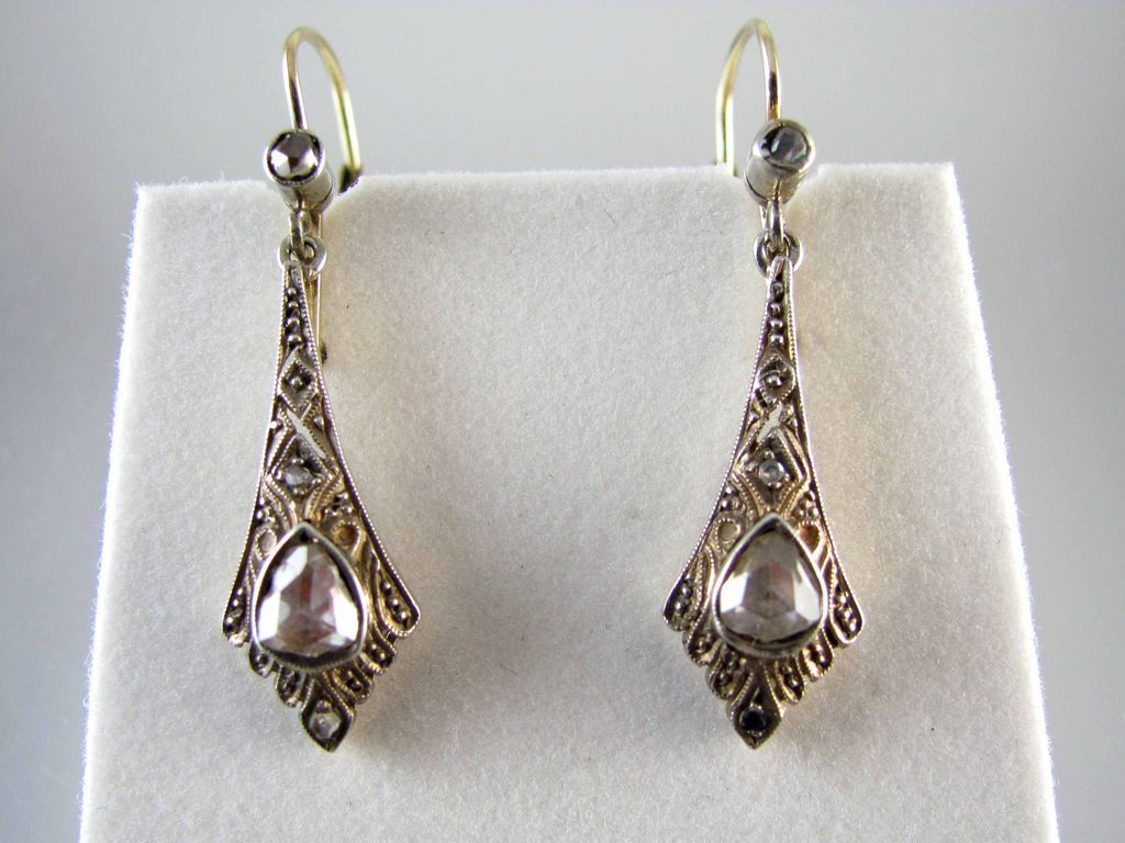 Antique transitional Victorian Edwardian 14k gold lever back rose cut diamond earrings