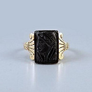 Antique Victorian rose pink gold black onyx cameo ring