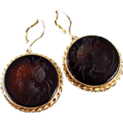 Antique Victorian 14k gold sardonyx hardstone intaglio cameo black onyx earrings