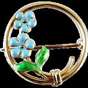 Sgned Krementz Antique Edwardian 14k gold enamel circle brooch pin