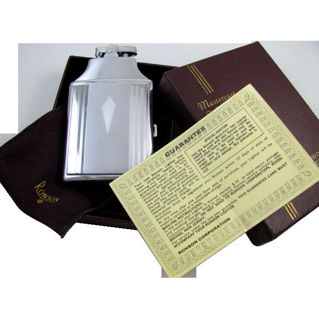 Cigarette case lighter Ronson chrome vintage Art Deco M34 Cu0026E Near Mint Unused Old Stock