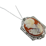 Vintage early Art Deco 10k white gold filigree diamond En Habillle cameo brooch pin pendant ne