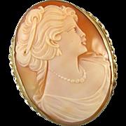 Vintage estate LARGE 14k gold cameo pendant brooch pin