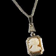 Vintage early Art Deco 14k white gold cameo lavalier pendant necklace