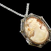 Vintage early Art Deco 14k white gold filigree fleur de lis cameo brooch pin pendant necklace