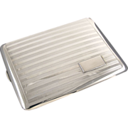 Cigarette case unidirectional sterling silver Art Deco Webster 4 ounce business card case