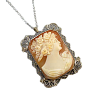 Vintage early Art Deco 14k white gold filigree cameo brooch pin pendant necklace